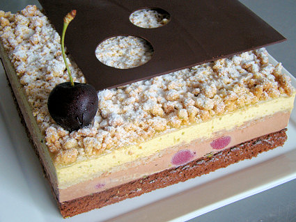 cake has the perfect balance of chocolate, cherry, and pistachio ...